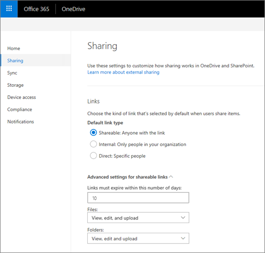 Link settings on the Sharing page of the OneDrive admin center