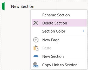 Delete Section menu option in OneNote Online.