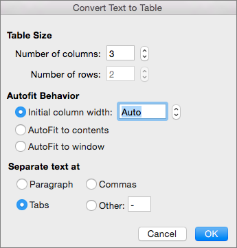 Options for converting text to a table