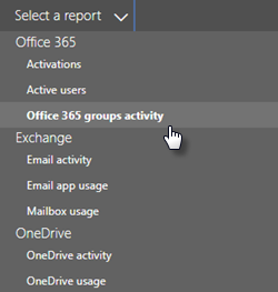 Screenshot: Select a report - office 365 groups