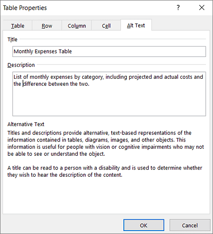 Screenshot of the Alt Text tab of the Table Properties dialog box describing the selected table