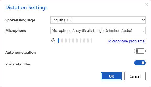 Dictation settings