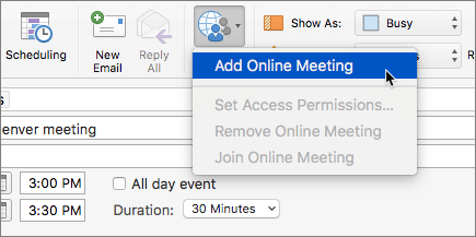 Screenshot of a meeting request with  Add Online Meeting selected in the Ribbon.