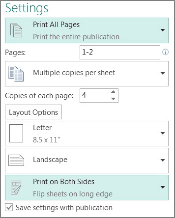 Setting to print on both sides of the paper in Publisher.