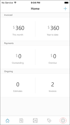 Invoices Home page