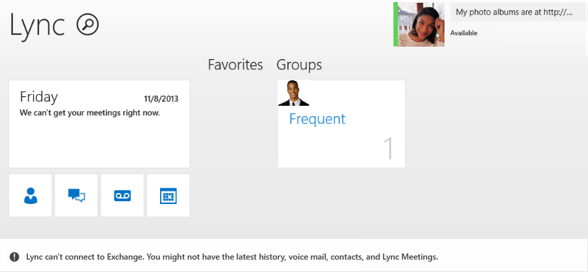Screen shot of error: Lync can't connect to Exchange. You might not have the latest history, voice mail, contacts, and Lync Meetings.