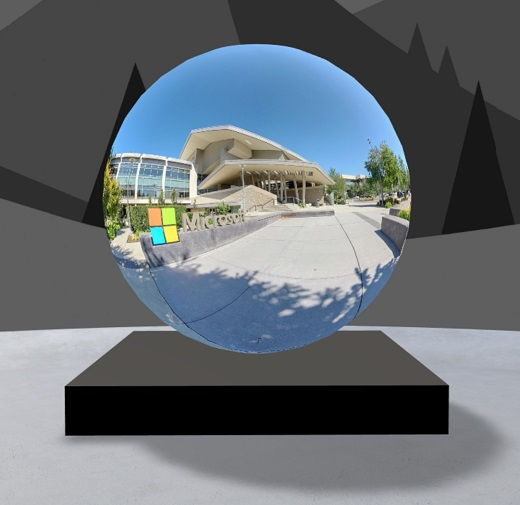 360° tour web part with image of Microsoft visitor center