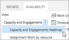 Choose the Capacity and Engagements Heatmap from the View list