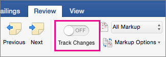 On the Review tab, Track Changes is turned off