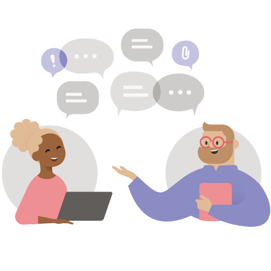 Illustration of two people chatting