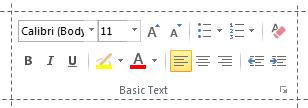 The Basic Text ribbon group in Outlook