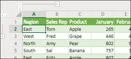 Apply row and column Outline levels in Excel for the Web from Data Group/Ungroup.