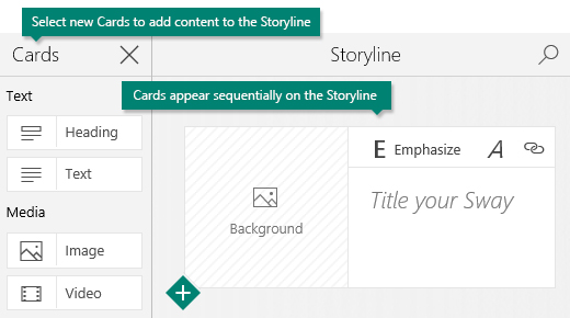 Cards task pane and Sway Storyline