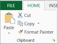 Copy and Paste buttons on the Home tab