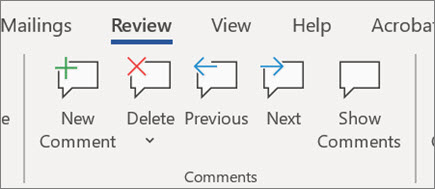 Comments ribbon in Word