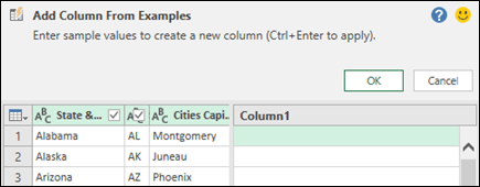 Power Query combine column from example pane