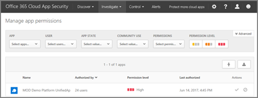In O365 CAS, you can access the Manage App Permissions page from the Investigate menu.