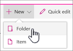 + New dropdown menu with folder highlighted