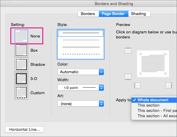 Remove page borders in word 2016 for mac word for mac page border tab with the none setting highlighted ccuart Images