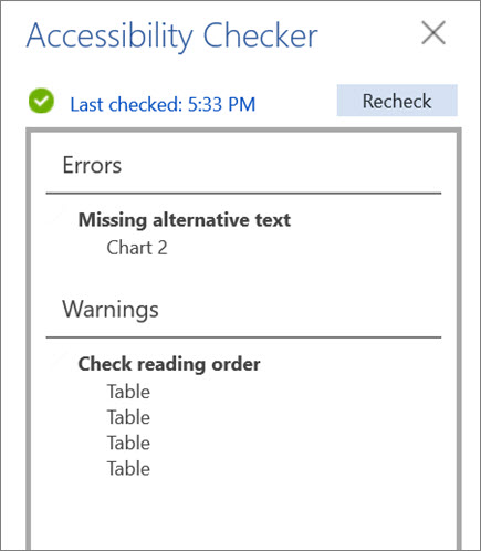 Check accessibilty in Word for the web