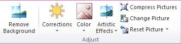 Adjust group on the ribbon image