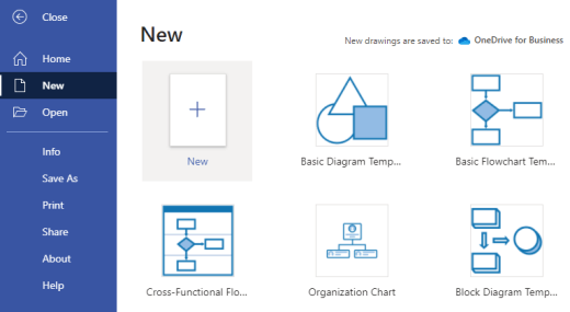 The Templates menu in Visio for the web