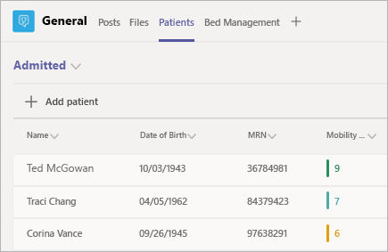 Image depicts + Add patient in the Microsoft Teams Patients app
