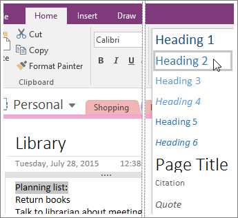 Screenshot of the Styles drop-down menu in OneNote 2016.