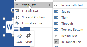 Choosing In Front of Text for text wrapping