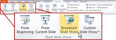 Broadcast SlideShow, in the Start Slide Show group, on the Slide Show tab in PowerPoint 2010.