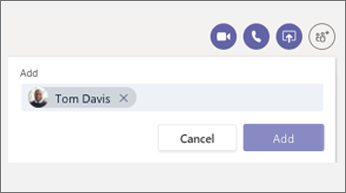 Add person to chat dialog box