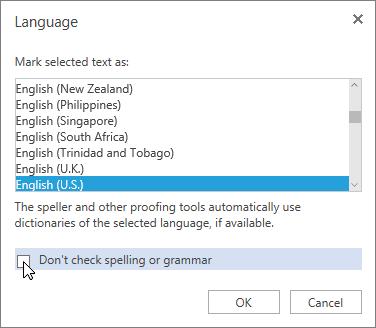 Language dialog