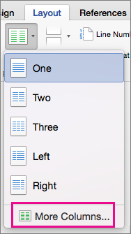 Choosing More Columns on the Columns menu