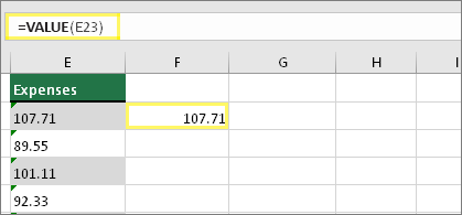 Cell F23 with formula: =VALUE(E23) and result of 107.71
