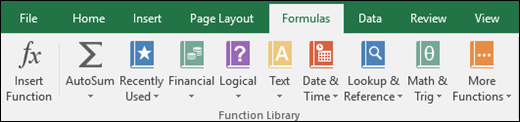 The Excel Formulas tab on the Ribbon
