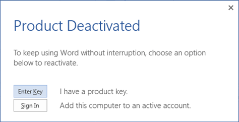 Product deactivated