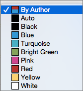 In the Track Change box, the Color options for By Author