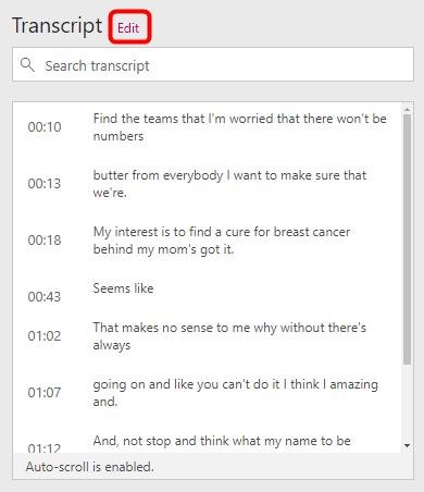 Edit transcript