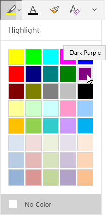 Highlight button with dropdown showing dark purple selected