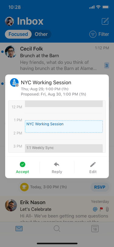 iOS Outlook accept new time