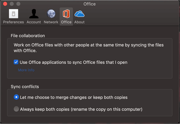 Office tab in Microsoft OneDrive with the 'sync office' option selected