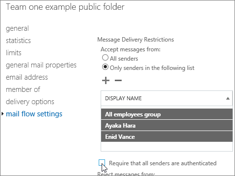 custom allowed sender list for a public folder to help fix DSN 5.7.135