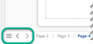 There are three navigation buttons at the left end of the page-tab bar, below the drawing canvas.