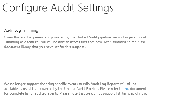 SPO Audit Settings