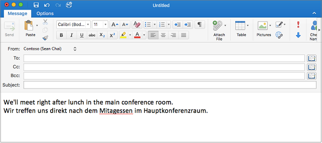 English sentence and German sentence with misspelled word in German. Misspelling has red line under it.