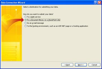 Selecting a destination for submitted data in the Data Connection Wizard