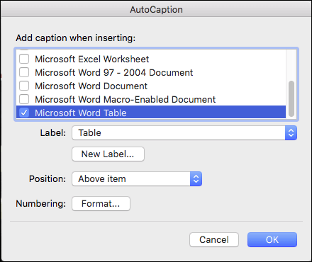 Automatically add captions to new tables and other objects that you insert