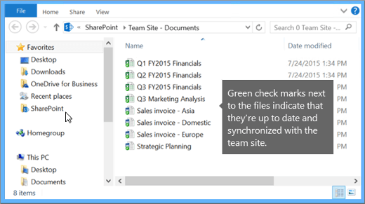 Use File Explorer to navigate to the synchronized file on your desktop. It's in the SharePoint folder.