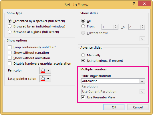 Monitor options in the Set Up Show dialog box