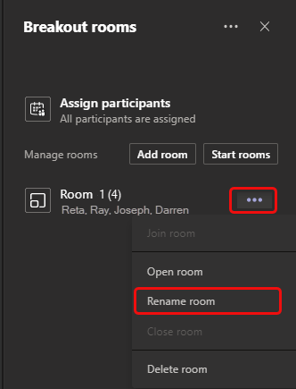 Rename room